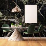 Imite encima de interior en estilo del art déco con una pared de mármol 3d que rinde el ejemplo 3d Fotos de archivo