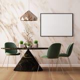 Imite encima de interior en estilo del art déco con una pared de mármol 3d que rinde el ejemplo 3d Fotografía de archivo libre de regalías