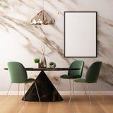 Imite encima de interior en estilo del art déco con una pared de mármol 3d que rinde el ejemplo 3d Foto de archivo libre de regalías