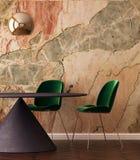 Imite encima de interior en estilo del art déco con una pared de mármol 3d que rinde el ejemplo 3d Imagenes de archivo