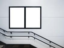 Imite encima de la medios publicidad de los carteles en espacio del edificio público Imágenes de archivo libres de regalías