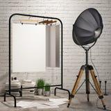Imite encima de los carteles en fondo interior del desván con la lámpara de la industria imagen de archivo