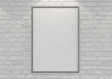 Imite encima de los carteles en la pared de ladrillo blanca con la lámpara ilustración 3D stock de ilustración