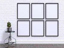Imite encima de marco de la foto con la planta, el taburete, el piso y la pared 3d rinden Fotografía de archivo libre de regalías