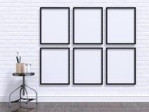 Imite encima de marco de la foto con la tabla, el piso y la pared 3d Fotos de archivo