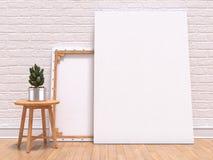 Imite encima de marco de la lona con la planta, el piso y la pared 3d libre illustration