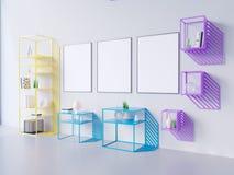 Imite encima de marco del cartel en el fondo blanco y negro, 3D rinden, el ejemplo 3D Fotografía de archivo