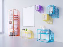 Imite encima de marco del cartel en el fondo blanco y negro, 3D rinden, el ejemplo 3D Imágenes de archivo libres de regalías