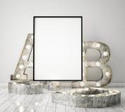 Imite encima de marco del cartel en el fondo interior con las letras ligeras, estilo escandinavo, 3D del inconformista rinden Fotos de archivo libres de regalías