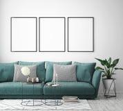 Imite encima de marco del cartel en el fondo interior del inconformista, estilo escandinavo, 3D rinden stock de ilustración