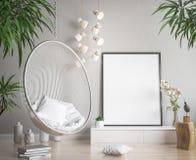 Imite encima de marco del cartel en el fondo interior del inconformista, estilo escandinavo Fotos de archivo