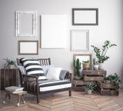 Imite encima de marco del cartel en el fondo interior del inconformista, estilo escandinavo Fotos de archivo libres de regalías