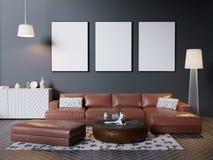 Imite encima de marco del cartel en el fondo interior del inconformista, estilo escandinavo, 3D rinden, el ejemplo 3D libre illustration