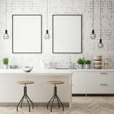 Imite encima de marco del cartel en el fondo interior de la cocina, estilo escandinavo, 3D rinden Imagenes de archivo