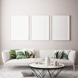 Imite encima de marco del cartel en el fondo interior tropical, estilo del Caribe moderno