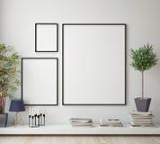 Imite encima de marco del cartel en el sitio del inconformista, fondo interior del estilo escandinavo, stock de ilustración