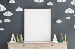 Imite encima de marco del cartel en el sitio de niños, fondo escandinavo del interior del estilo stock de ilustración
