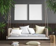 Imite encima de marco del cartel en fondo del interior del estilo del inconformista Fotografía de archivo