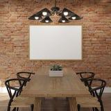 Imite encima de marco del cartel en la pared de ladrillo del comedor Foto de archivo