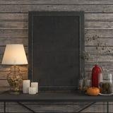 Imite encima de marco del cartel en la tabla del metal Fotos de archivo libres de regalías