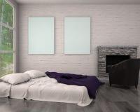Imite encima de marco del cartel en sala de estar moderna interior del inconformista stock de ilustración