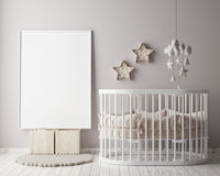 Imite encima de marco del cartel en sitio de niños con la decoración de los christamas, fondo interior del estilo escandinavo, ilustración del vector