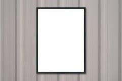 Imite encima de marco en blanco del cartel en la pared de madera Imágenes de archivo libres de regalías