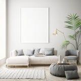 Imite encima de marcos del cartel en el dormitorio de los niños, fondo interior del estilo escandinavo, 3D rinden Imagen de archivo libre de regalías