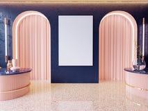 Imite encima de marcos del cartel en el fondo interior del inconformista, estilo escandinavo, 3D rinden, el ejemplo 3D foto de archivo libre de regalías