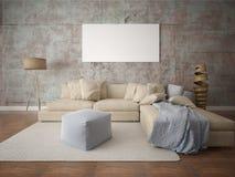 Imite encima de sala de estar de moda con un sofá de la esquina grande libre illustration