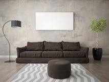 Imite encima de una sala de estar moderna con un sofá marrón