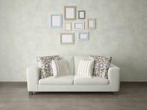 Imite encima del cartel con un sofá compacto en un fondo