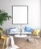 Imite encima del cartel, diseño de concepto escandinavo de la sala de estar Imagen de archivo libre de regalías