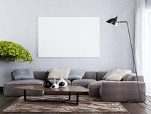 Imite encima del cartel en blanco en el estilo interior contemporáneo de la pared ilustración del vector