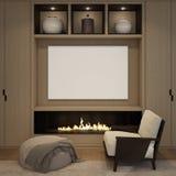 Imite encima del cartel en blanco en la chimenea de madera de la pared de la sala de estar Fotos de archivo