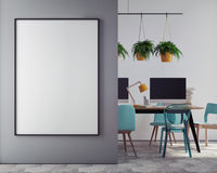 Imite encima del cartel en blanco en la pared de la oficina del inconformista, libre illustration