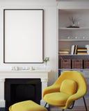Imite encima del cartel en blanco en la pared de la sala de estar del inconformista, representación 3D Fotos de archivo libres de regalías
