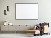 Imite encima del cartel en el interior con un pecho de cajones y de una silla en un estilo moderno stock de ilustración