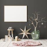 Imite encima del cartel en el interior de la Navidad en estilo escandinavo representación 3d libre illustration
