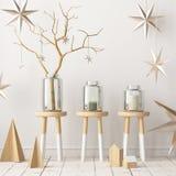 Imite encima del cartel en el interior de la Navidad en estilo escandinavo representación 3d ilustración del vector