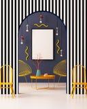 Imite encima del cartel en el interior en el estilo de Memphis ilustración 3D 3d rinden Imagen de archivo libre de regalías