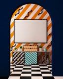 Imite encima del cartel en el interior en el estilo de Memphis ilustración 3D 3d rinden Imágenes de archivo libres de regalías