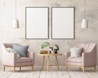 Imite encima del cartel en el interior en el estilo de un retraso con una silla Estilo escandinavo representación 3d stock de ilustración
