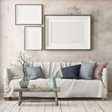 Imite encima del cartel en el interior en el estilo de un retraso con una silla Estilo escandinavo representación 3d ilustración del vector