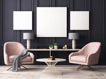 Imite encima del cartel en un interior en colores pastel con butacas y una tabla representación 3d libre illustration