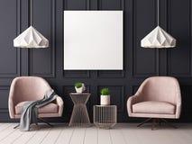 Imite encima del cartel en un interior en colores pastel con butacas y una tabla representación 3d stock de ilustración