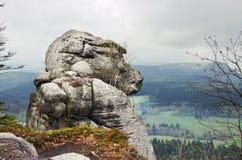 Imite la roca del hombre en Szczeliniec Wielki, Polonia Imagen de archivo