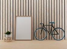 Imite para arriba con la bici en el cuarto de madera en la representación 3D Imagen de archivo
