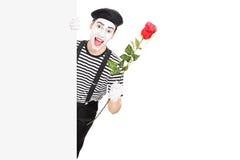 Imitieren Sie den Künstler, der eine rote Rose hinter einer Platte hält Lizenzfreies Stockbild