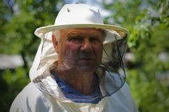 Imker arbeitet an dem Bienenhaus Stockfoto